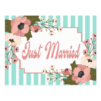 Pink Floral Just Married Wedding Blue Mint Stripes Postcard