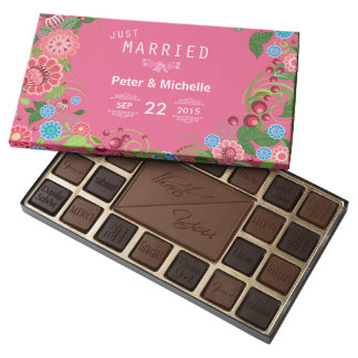 Pink Floral Just Married Wedding Chocolates Box 45 Piece Box Of Chocolates