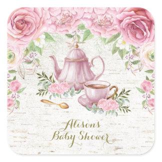 Pink Floral Kitchen Tea Thank You Sticker Favors