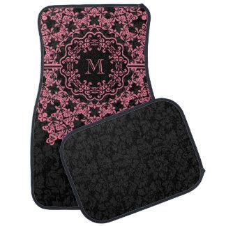 Pink Floral Lace Black Damasks Monogramed Car Mat