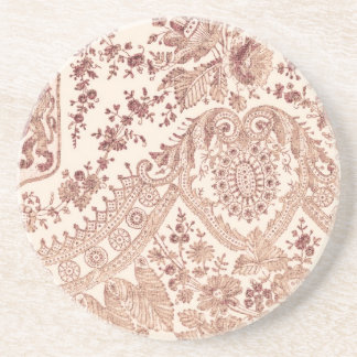 Pink Floral Lace Drink Coaster