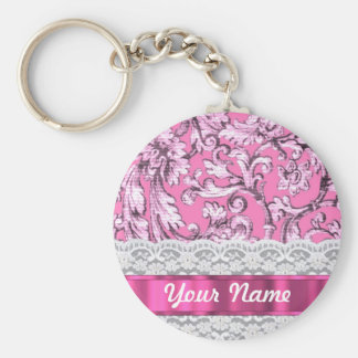 Pink floral lace pattern basic round button keychain