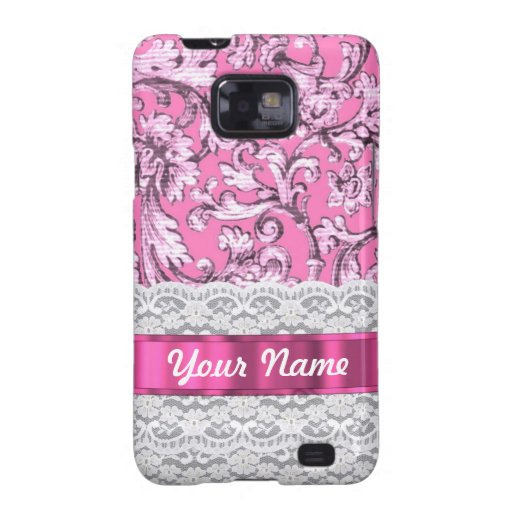 Pink floral lace pattern galaxy SII covers