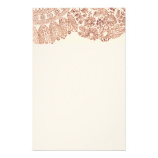 Pink Floral Lace With Roses Stationery