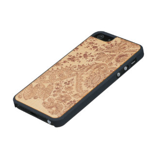 Pink Floral Lace With Roses Wood Phone Case For iPhone SE/5/5s