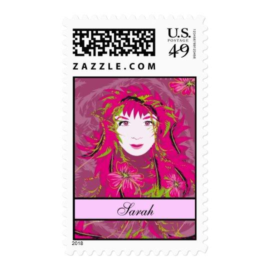 Pink Floral Lady Postage