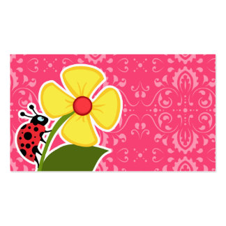 Pink Floral; Ladybug Business Cards