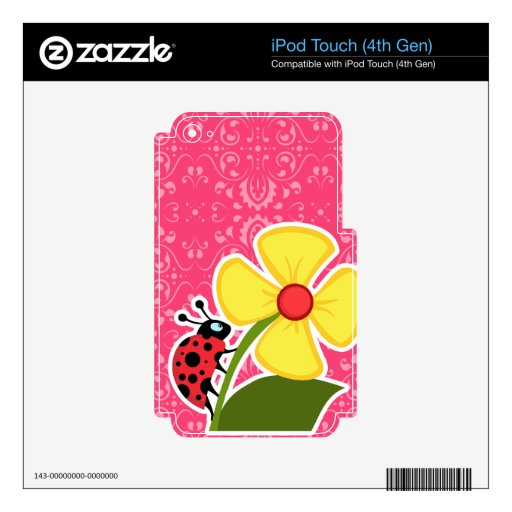 Pink Floral; Ladybug Decal For iPod Touch 4G