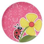 Pink Floral; Ladybug Dinner Plate