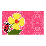 Pink Floral; Ladybug Double-Sided Standard Business Cards (Pack Of 100)