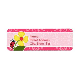 Pink Floral; Ladybug Custom Return Address Labels