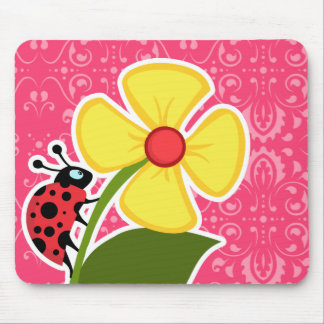 Pink Floral; Ladybug Mouse Pad