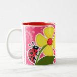Pink Floral; Ladybug Mug