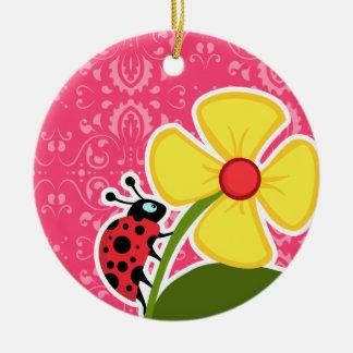 Pink Floral; Ladybug Christmas Tree Ornament