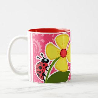 Pink Floral; Ladybug Two-Tone Coffee Mug