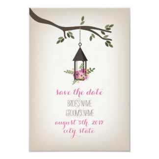 Pink Floral Lantern Tree Save The Date 3.5x5 Paper Invitation Card