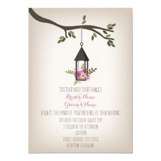Pink Floral Lantern Tree Wedding 5x7 Paper Invitation Card