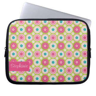 Pink Floral Laptop Sleeve with Your Name