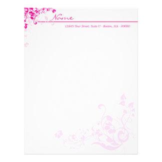 Pink Floral Letterhead