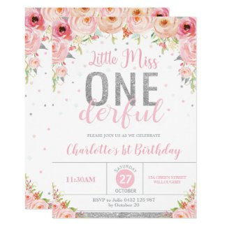 Pink Floral Little Miss Onederful 1st Birthday Invitation