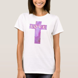 Pink Floral Love Cross Tee For Women