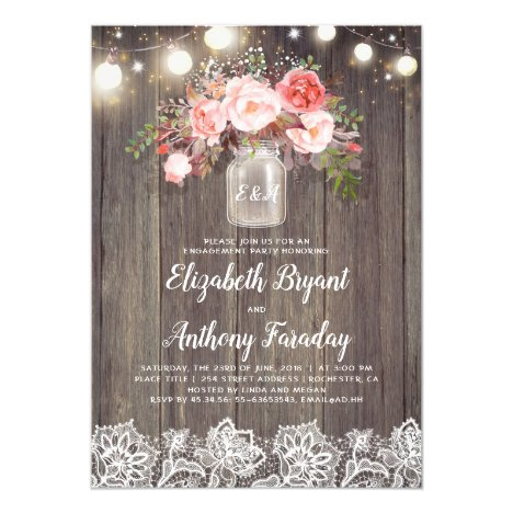 Pink Floral Mason Jar Rustic Lace Engagement Party Invitation
