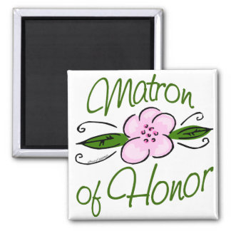 Pink Floral Matron of Honor 2 Inch Square Magnet