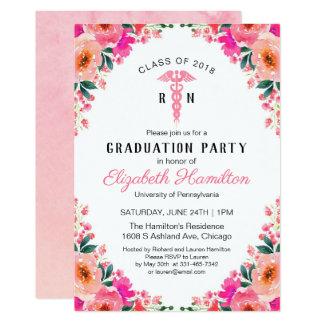Pink Floral Medical Nursing School Graduation Card