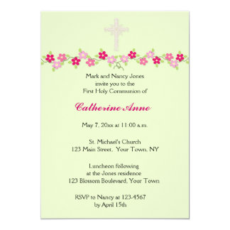 Pink Floral, Mint Green, Religious Invitation