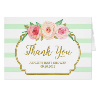 Pink Floral Mint Stripes Baby Shower Thank You Card