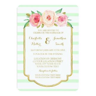 Pink Floral Mint Stripes Gold Wedding Invitations