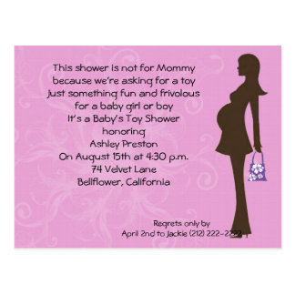 Pink Floral Modern Mom Baby Shower Invitation Postcard