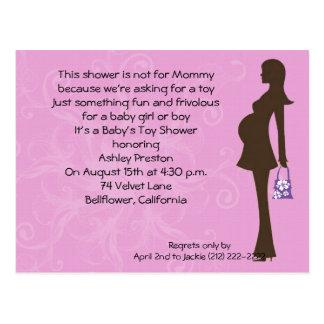 Pink Floral Modern Mom Baby Shower Invitation Postcard