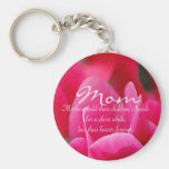 "Pink Floral ""Mom"" Keychain"