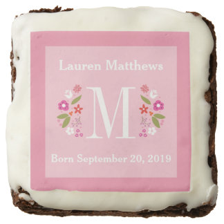 Pink Floral Monogram Baby Girl Birth Announcement Square Brownie