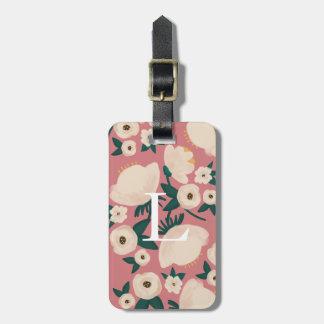 Pink Floral Monogram Chic Luggage Tag