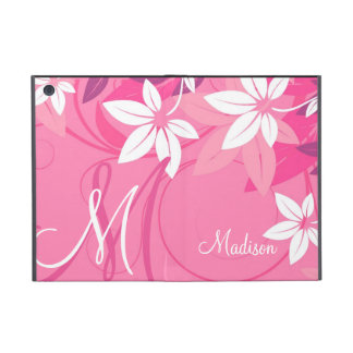 Pink Floral Monogram Folio Cover For iPad Mini