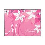 Pink Floral Monogram Folio iPad Mini Cases