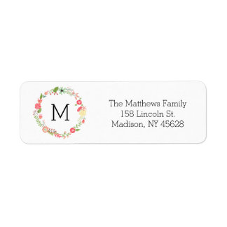 Pink Floral Monogram Label