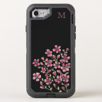 Pink Floral Monogram OtterBox Defender iPhone 8/7 Case