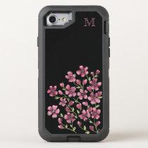 Pink Floral Monogram OtterBox Defender iPhone 8/7 Case