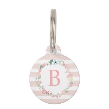 Beach Themed Pink Floral Monogram Pet Name Tag