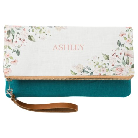 Pink Floral Monogram Watercolor Personalized Name Clutch