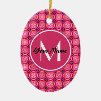 Pink Floral Monogrammed Oval Ornament Ceramic Oval Ornament