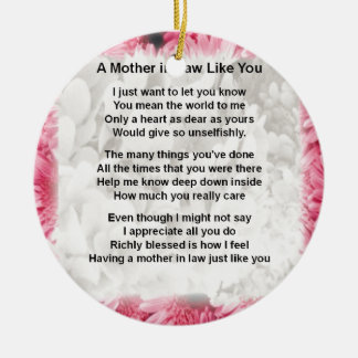Pink Floral -  Mother in Law Poem Ceramic Ornament