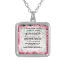 Pink Floral -  Mother in Law Poem Silver Plated Necklace