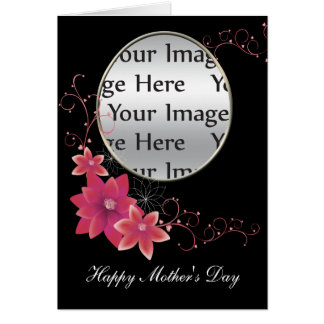 pink floral mother's day photo card