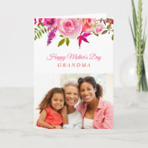 Pink Floral Mother's Day Photo Card for Grandma