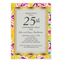 Pink Floral Mustard Yellow 25th Anniversary Party Card