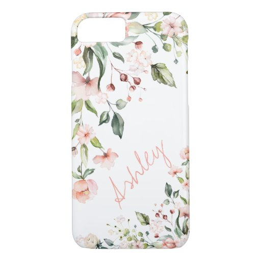 Pink Floral Name Monogram Watercolor Script iPhone 8/7 Case